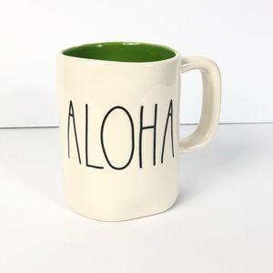 Rae Dunn ALOHA Mug GREEN Interior LL Large Letter
